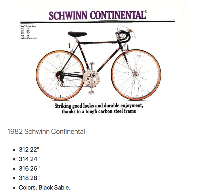 71 cm 1982 Schwinn Continental – Sprague & Sons Bicycles